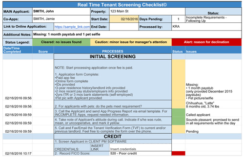 Tenant Screening Checklist for Property Management Companies