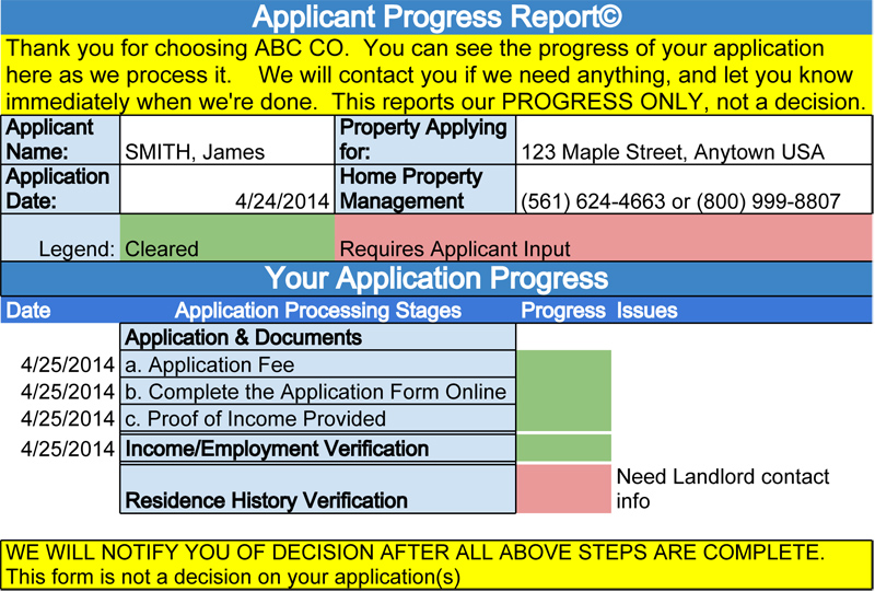 Applicant Progress Report copyrighted