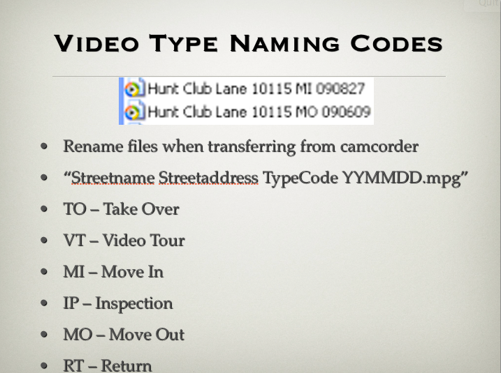 Video naming Conventions
